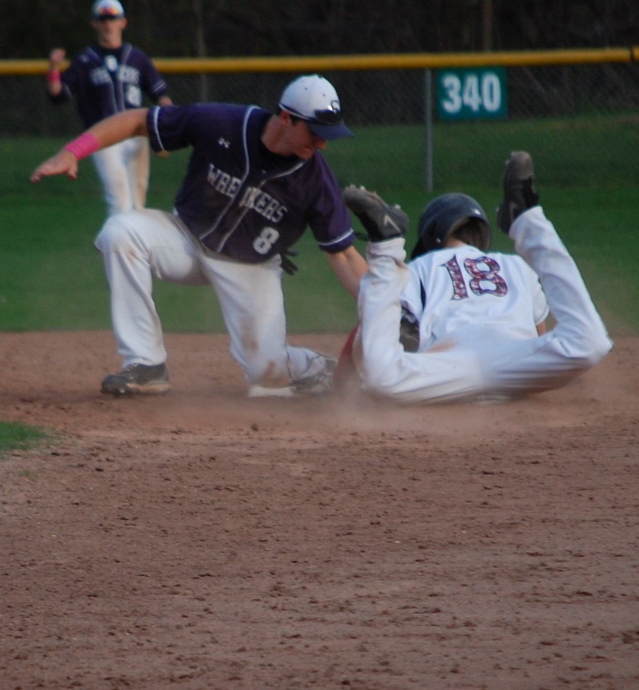 Adam Dulsky nails New Canaan baserunner trying to steal, Sam Ellinwood applies the tag!